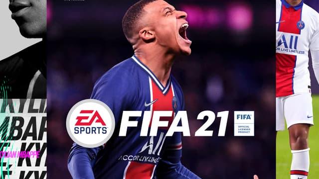 Kylian Mbappé sur la jaquette de FIFA 21