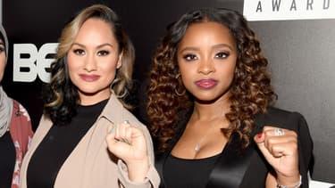 Carmen Perez (à gauche) et Tamika Mallory (à droite), lors des BET's Social Awards, le 11 février 2018.