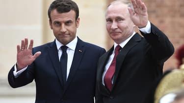 Emmanuel Macron et Vladimir Poutine le 29 mai 2017 à Versailles.