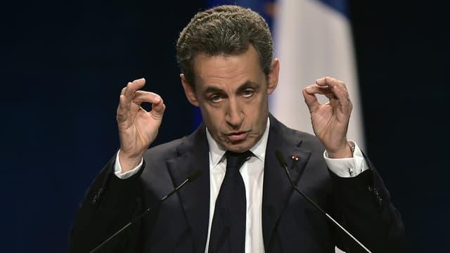Nicolas Sarkozy, le 25 novembre 2015, lors d'un meeting en banlieue de Strasbourg.