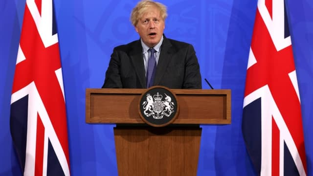 Le Premier ministre britannique Boris Johnson lors d'une conférence de presse, le 14 juin 2021 à Londres (photo d'illustration)