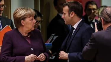 Angela Merkel et Emmanuel Macron à Bruxelles en février 2020.