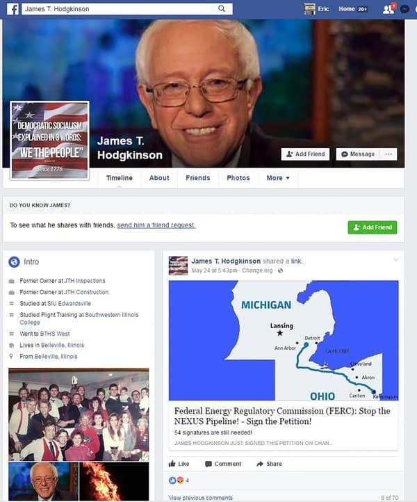 La page Facebook de James Hodgkinson.