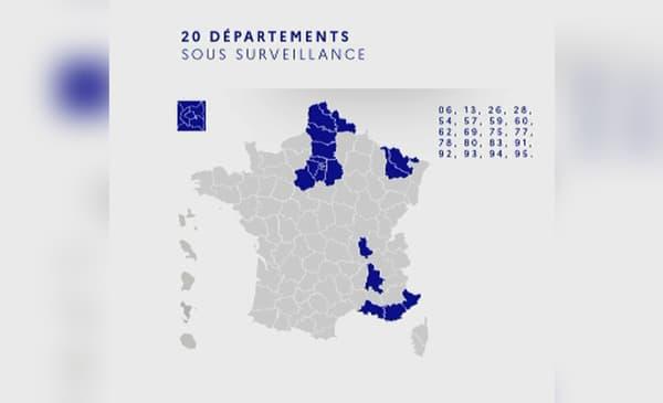 Carte des 20 départements concernés.