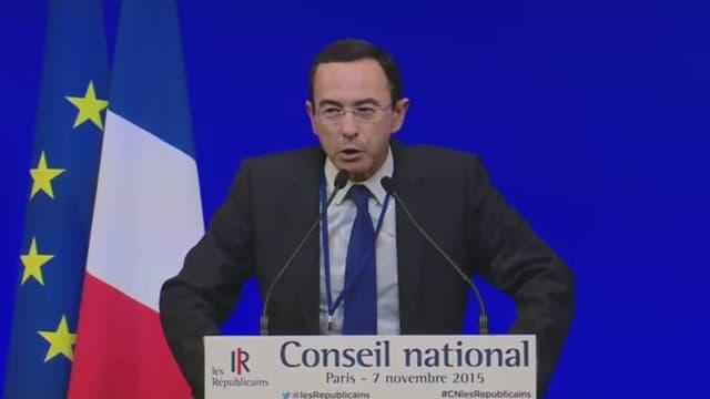 Bruno Retailleau, candidat LR aux régionales en Pays de la Loire, lors du Conseil national des Républicains, samedi 7 novembre.