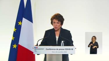 Roselyne Bachelot s'exprimant le 26 novembre sur le déconfinement de la culture.