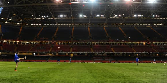 Les Bleus lors de l'entraînement ce jeudi au Millenium Stadium de Cardiff.