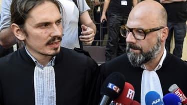 Les avocats de Jacqueline Jacob (à droite) et Marcel Jacob (à gauche) le 20 mai 2017