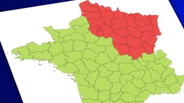 Carte de France des départements affectés par le coronavirus.