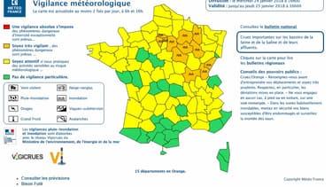 Encore 20 départements en vigilance orange mercredi 24 janvier.