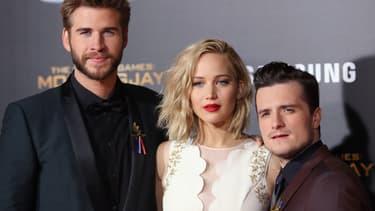 Liam Hemsworth, Jennifer Lawrence et Josh Hutcherson lors de la première de Hunger Games, le 16 novembre 2015