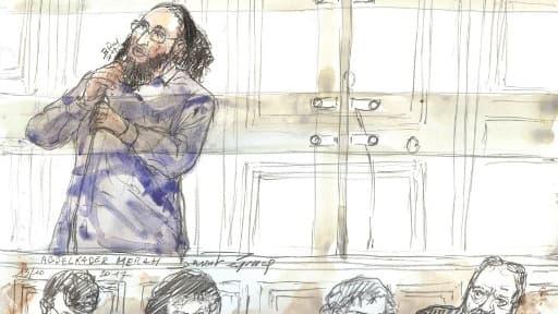 Abdelkader Merah dessiné durant son procès