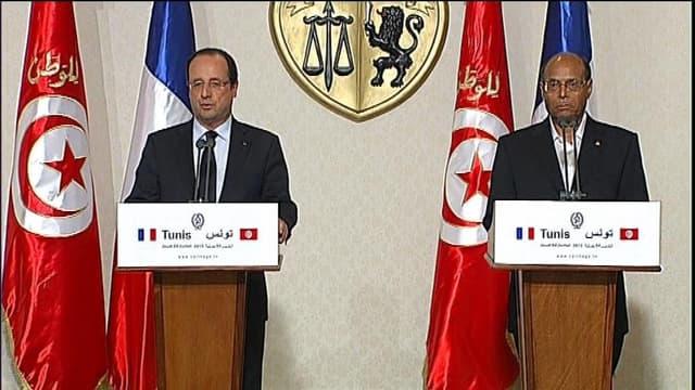 François Hollande lors d'une conférence de presse commune avec Moncef Marzouk le 4 juin à Tunis.
