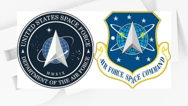 Le nouveau et l'ancien logo de la Force de l'espace américaine