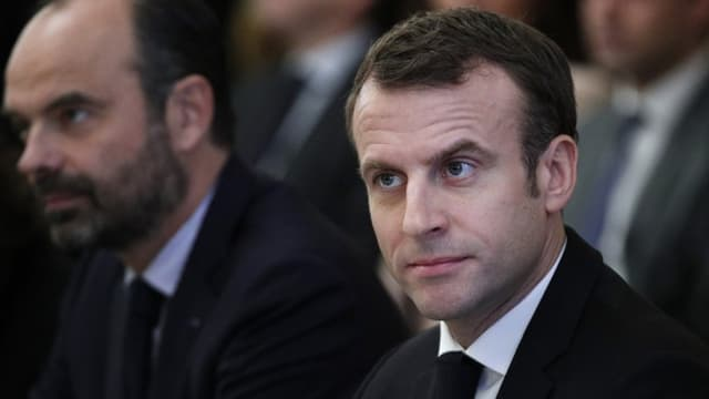 Edouard Philippe et Emmanuel Macron lors d'une réunion avec les partenaires sociaux à l'Elysée, le 10 décembre 2018.