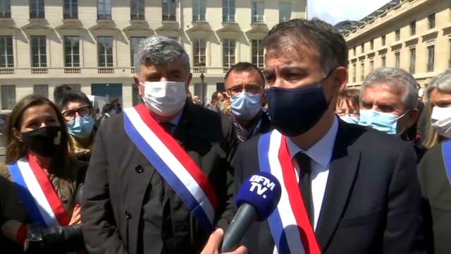 Le premier secrétaire du Parti socialiste, Olivier Faure, lors de la manifestation des policiers à Paris, le 20 mai 2021.
