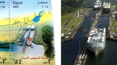 A gauche, le timbre censé représenter le canal de Suez. A droite, le canal de Panama.