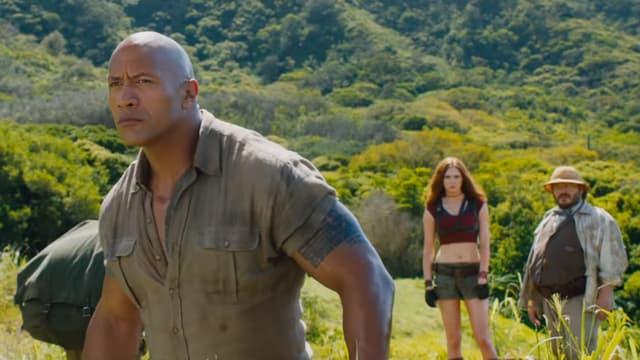 "Dwayne Johnson, Karen Gillan et Jack Black dans ""Jumanji: bienvenue dans la jungle"""