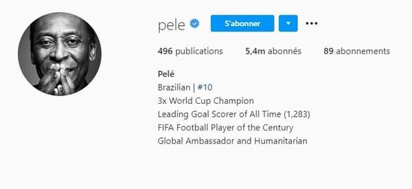 La nouvelle biographie Instagram de Pelé