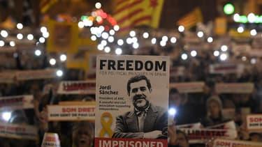 Une manifestation pour la libération de Jordi Sanchez en janvier 2018 à Barcelone.