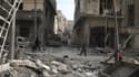 Dans les rues de Douma, la plus grande ville de Ghouta orientale, le 19 mars.