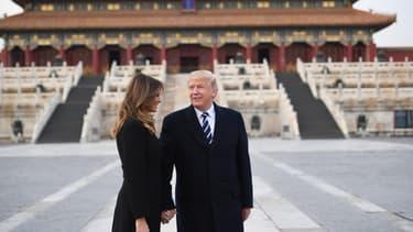 Donald et Melania Trump dans la Cité Interdite, à Pékin, le 8 novembre 2017.