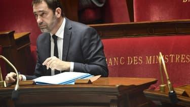 """Le ministre de l'Intérieur Christophe Castaner, le jour du vote solennel en première lecture à l'Assemblée nationale de la proposition de loi """"anti-casseurs"""", le 5 février 2019. - Jacques Demarthon - AFP"""