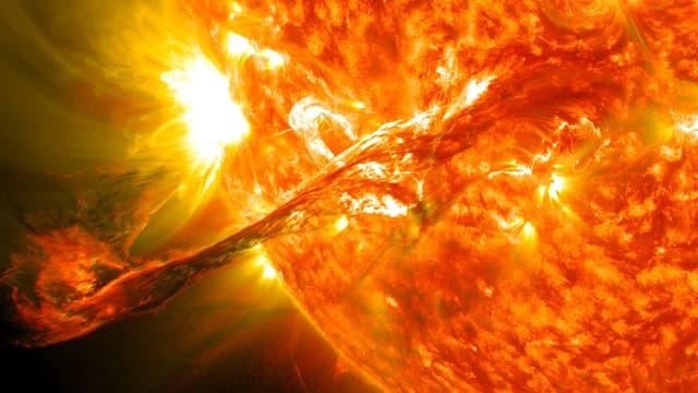 Le soleil éjecte de la matière or de la chromosphère. (vue d'artiste)
