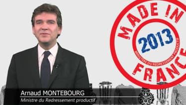 """Arnaud Montebourg, """"ministre de l'hospitalité industrielle"""", pour ses voeux 2013."""