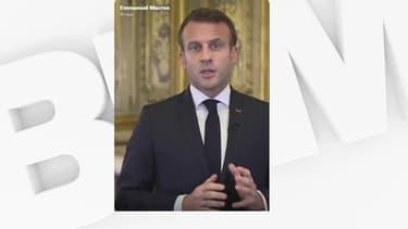 Emmanuel Macron face caméra.