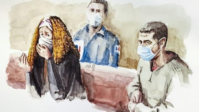 Croquis d'audience représentant la mère de Fiona, Cécile Bourgeon (g) et son ex-compagnon, Berkane Makhlouf (d), lors de leur procès en appel à Lyon, le 4 décembre 2020
