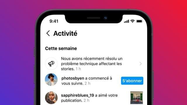 La nouvelle notification affichée par Instagram en cas de panne