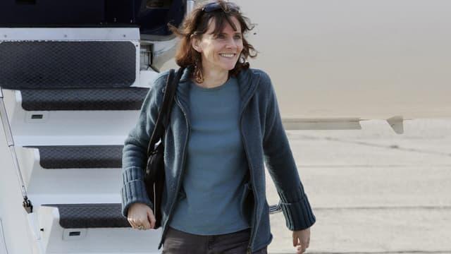 Florence Aubenas lors de son retour en France le 12 juin 2005.