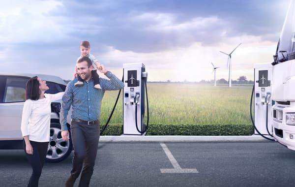Le réseau Kallista Energy veut proposer un réseau de bornes de recharge rapide accolé à des éoliennes pour produire l'électricité.