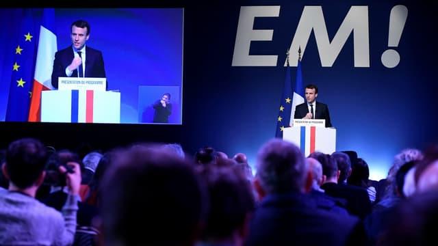 Emmanuel Macron, en meeting.