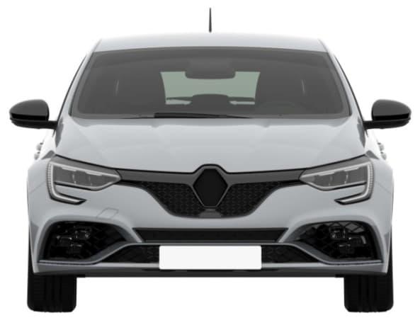 La face avant de la nouvelle Mégane RS, sans logo et avec l'emplacement visible pour l'éclairage à damier