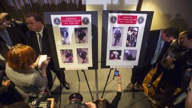 Lors de la présentation des photos des suspects du double attentat de Boston, jeudi dernier, avant que les autorités ne découvrent leur identité. Selon des sources proches de l'enquête, le nom de l'un des suspects, Tamerlan Tsarnaev, figurait sur une list