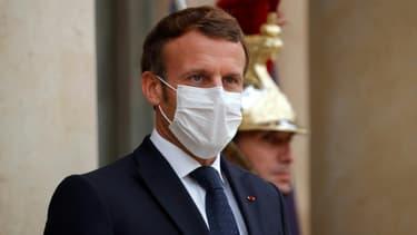 Le président Emmanuel Macron à l'Elysée à Paris le 22 octobre 2020