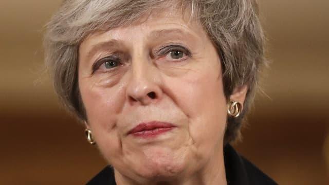 La Première ministre britannique Theresa May lors de sa conférence de presse jeudi soir à Londres