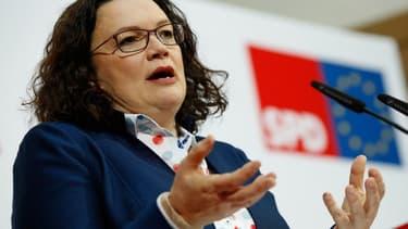 Andrea Nahles, la chef du SPD, en conférence de presse à Berlin le 11 février pour dévoiler le nouveau programme social du parti.
