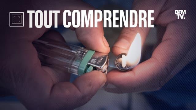 Un toxicomane prépare une pipe de crack, le 2 décembre 2020 à Paris