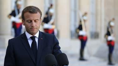 Emmanuel Macron en conférence de presse devant l'Élysée le 18 septembre dernier (Photo d'illustration).