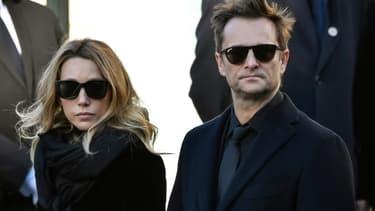 David Hallyday et Laura Smet lors des funérailles de leur père, Johnny Hallyday, le 9 décembre 2017 à Paris