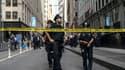 Des policiers new yorkais près de la station de métro Fulton Street à Manhattan, vendredi 16 août 2019.