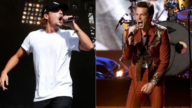 Nekfeu (à gauche) et Brandon Flowers, leader et chanteur de The Killers (à droite)