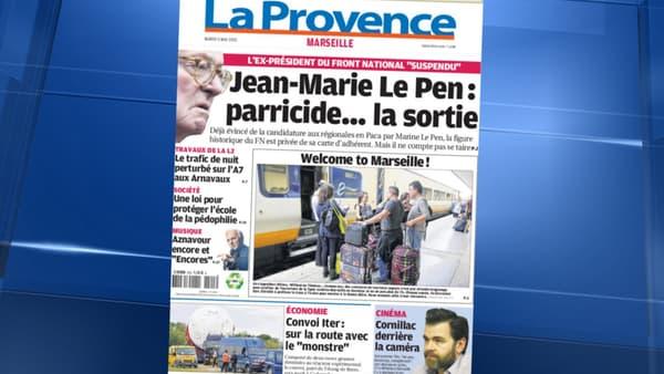 La une de La Provence, mardi.