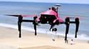 Le drone Helper au-dessus de la plage de Biscarrosse au mois d'août 2016.