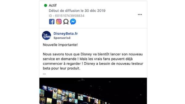 Capture d'écran de la publicité frauduleuse