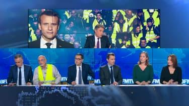 Le plateau de BFMTV ce lundi soir, après l'allocution du président de la République.