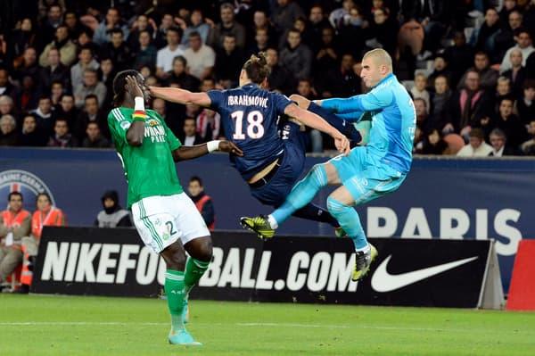 Zlatan Ibrahimovic face à Stéphane Ruffier